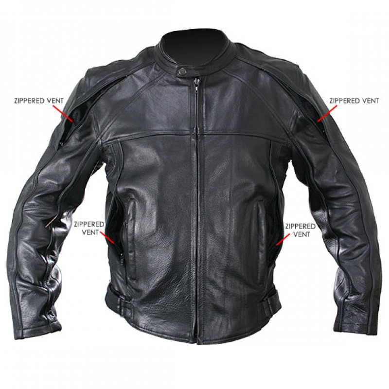 Leather motorcycle jacket with armor