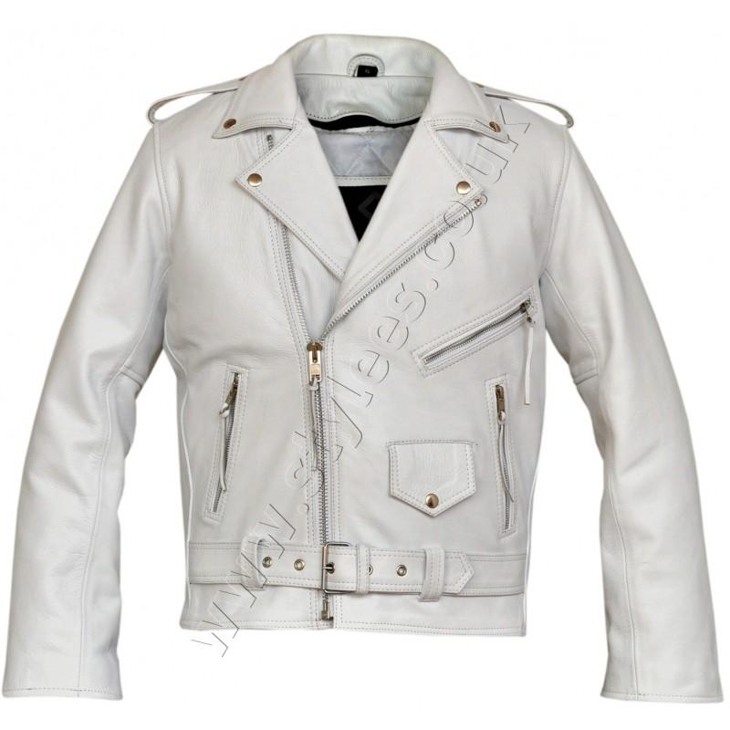 Summer Motorcycle Jacket >> White Marlon Brando Classic Motorcycle Leather Jacket