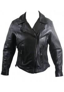 Ladies Braided Premium Leather Motorcycle Jackets