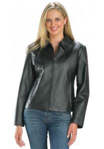 Ladies Waist Length Black Zipper Jacket