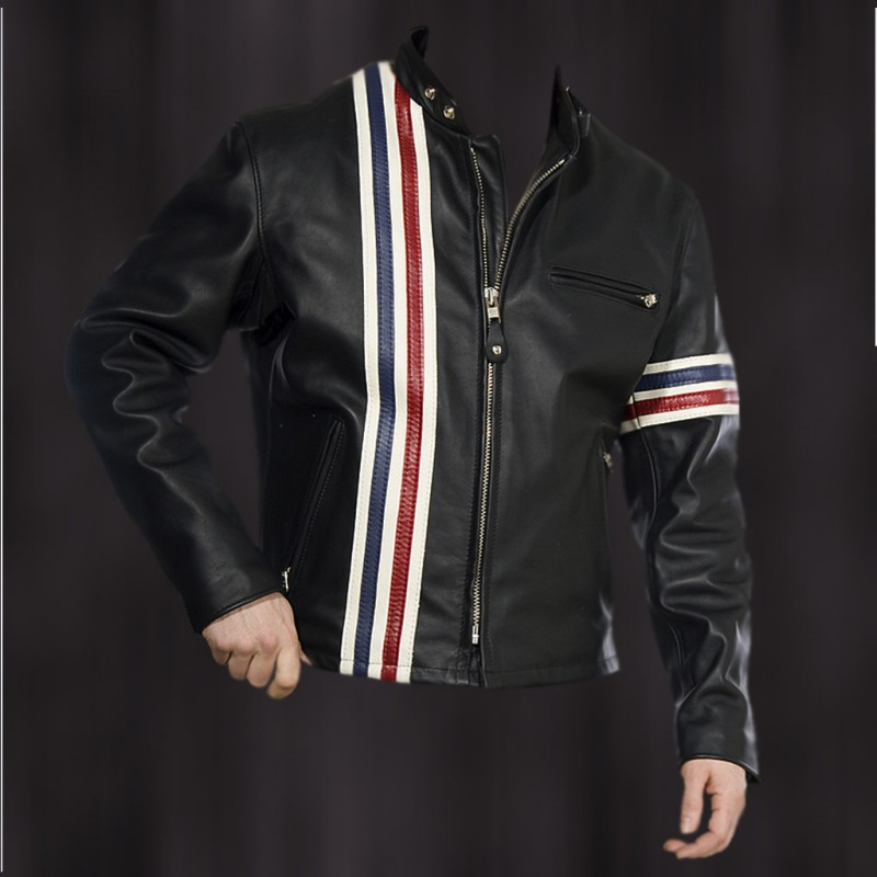 Easy Rider Striped Leather Motorcycle Jacket
