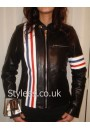 Ladies Easy Rider Striped Leather Motorcycle Jacket