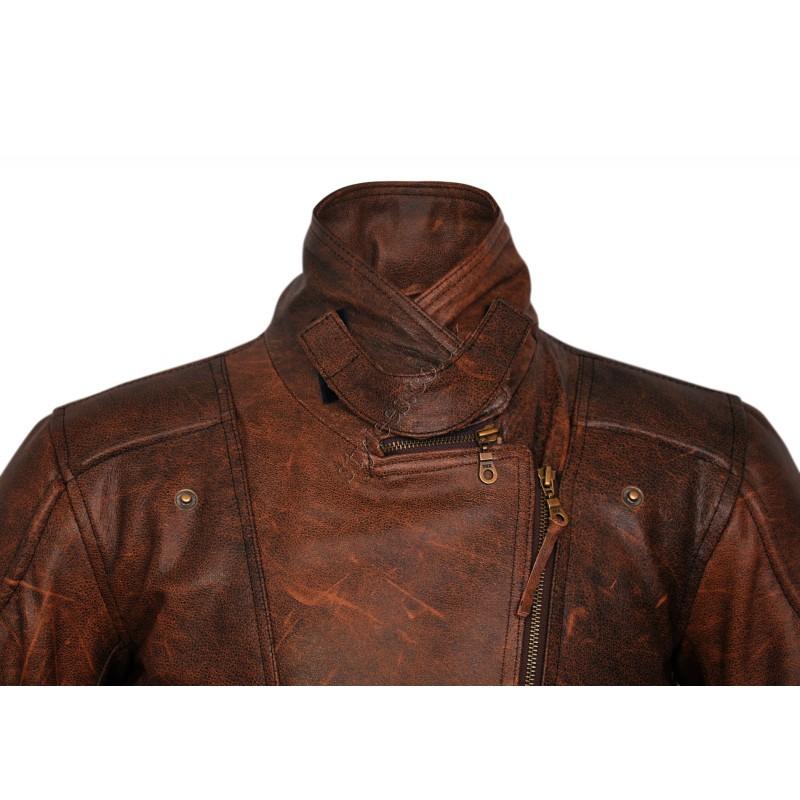 fa5ae2cbb96 3/4 Eddie Vintage Brown Unisex Biker Leather Jacket