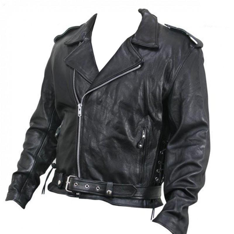 7a41e3ffb Armored Black Leather Classic Biker Jacket