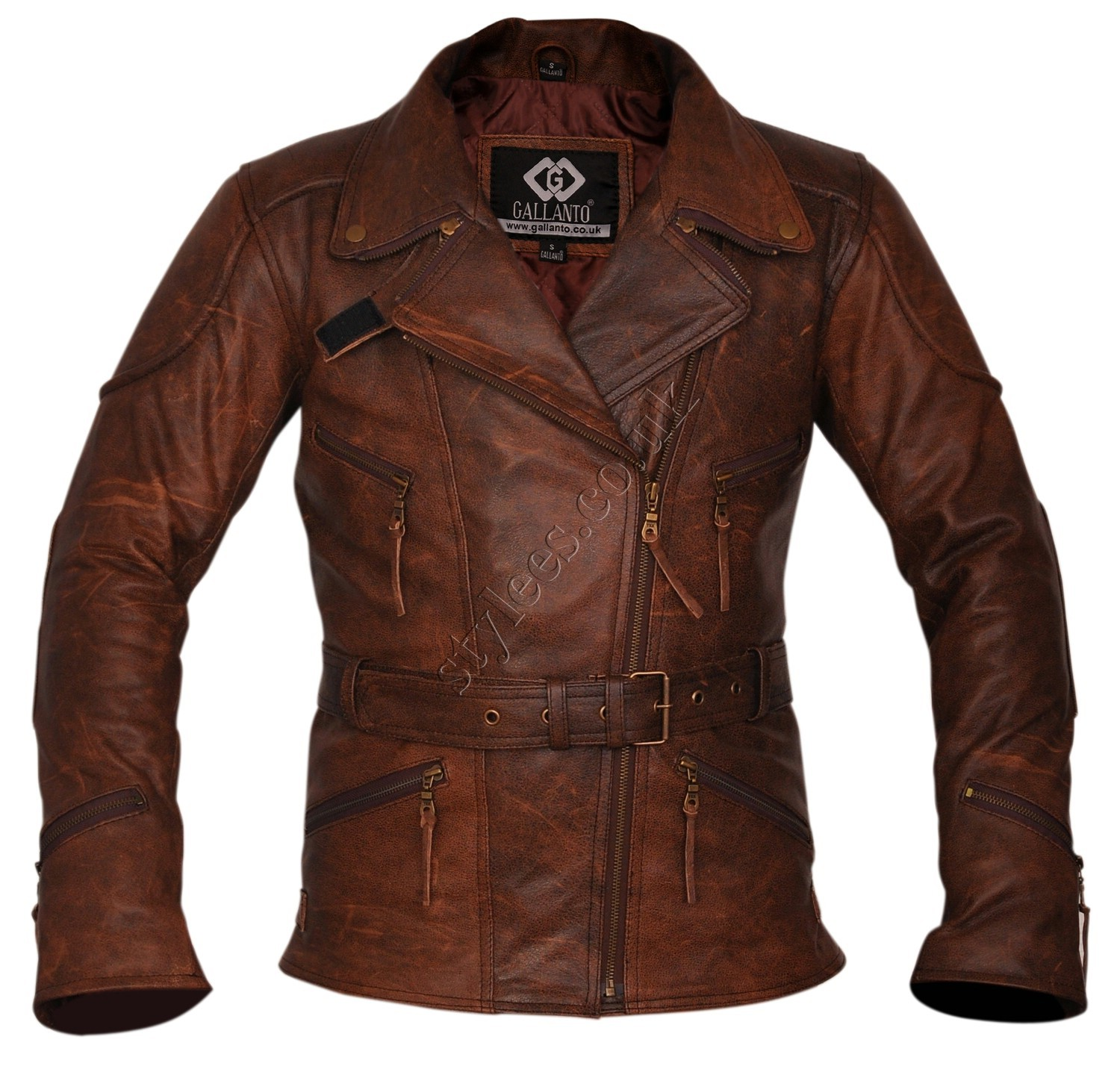 21008c0af6f5 3 4 Eddie Vintage Brown Unisex Biker Leather Jacket