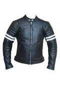 White Striped Cafe Racer Style Retro Leather Jacket