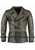 3/4 Distressed Eddie Mens Motorcycle Long Vintage Leather Jacket