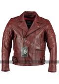 Classic Diamond Vintage Red Biker Leather Jacket