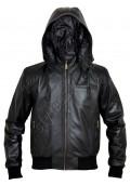 Zip-off Hood Bomber Leather Jacket