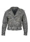 Distressed Leather Mens Belted Biker Jacket