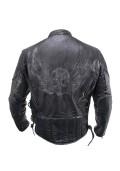 Men's Premium Black Distressed-Leather Flying Skull Racer Jacket