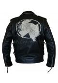 Men's Black Leather USA Eagle Embossed Motorcycle Jacket