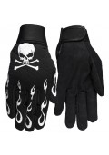 Skull and Crossbones Mechanic Motorcycle Goth Gloves