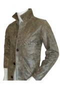 Stone Grey Leather Coat