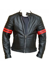 Red Striped Cafe Racer Style Retro Leather Jacket