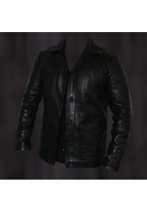 Brad Pitt Fight Club Black Leather Jacket