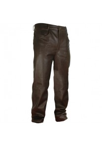 Men's Classic Brown Leather Trousers