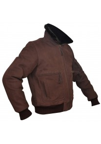Men's Brown Nubuck Leather Fur Bomber Pilot Jacket
