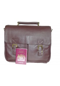 Brown Double Clasp (With Buckles) Premium Leather Briefcase