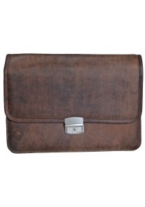 Single Clasp Brown Vintage Leather Document Bag