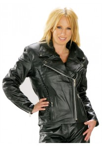 Classic Braided Cruiser Ladies Motorcycle Leather Jacket