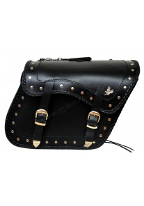 Zip-Off Eagle Motorcycle Leather Saddle Bag