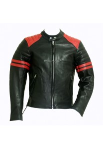 Fight Club Mayhem Black Leather Jacket with Red stripes