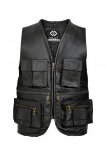 Fishermen Multipocket Leather Waistcoat