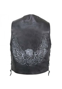 Men's Black Distressed Leather Biker Vest with Flying Skull Graphics