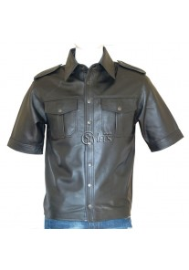 Police Style Half Sleeve Classic Leather Shirt