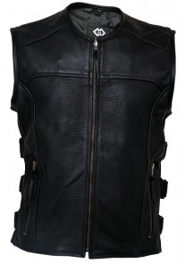 Premium Perforated Leather Motorcycle Vest