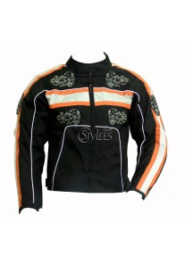 Men's Black and Orange Skull Textile Motorcycle Jacket