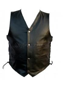 Side Lace Classic Mens Leather Vest