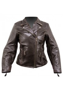 Ladies Braided Classic Retro Brown Cowhide Leather Jacket
