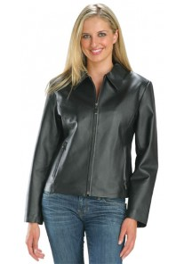 Ladies Waist Length Black Zipper Jacket