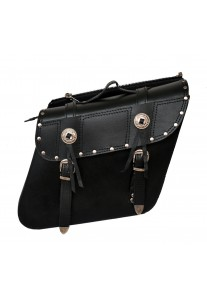 Leather Zip Off Chrome Plated with Studs Motorcycle Saddle Bags
