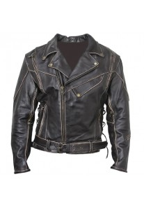 Men's Antique-Brown Rub-Off Motorcycle Jacket
