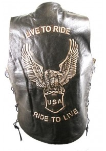 Men's Brown Leather Embossed Eagle Live to Ride Vest Waistcoat