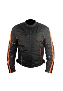 Men's Black and Orange Fabric Motorcycle Jacket