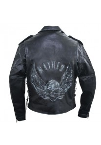 Men's Premium Black Distressed-Leather Jacket with Embossed Flying Skull