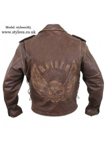 Brown Distressed-Leather Jacket with Embossed Flying Skull