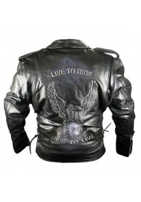 Men's Premium Classic Black Embossed Eagle Motorcycle Jackets