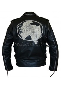 Men's Black Leather USA Eagle Embossed Motorcycle Jacket Size S,M,L