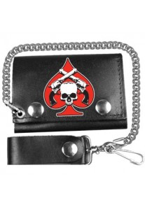 Skull and Pistols Leather Wallet