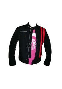 Smart Cafe Racer Retro Style Striped Fabric Jacket