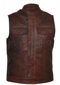 Brown Cut off Leather Gilet