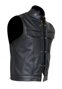 Gilet Style Cut off Cowhide Leather Vest Waiscoat