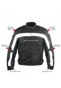 Armored Black and White Fabric Motorcycle Jacket