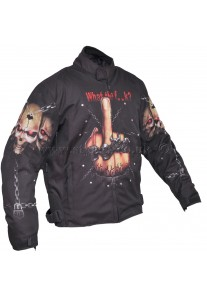 What the F Skull Black Motorcycle Textile Jacket