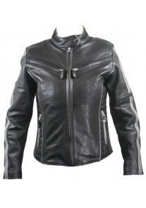 Women's Black and Silver Multi Vented Motorcycle Jackets